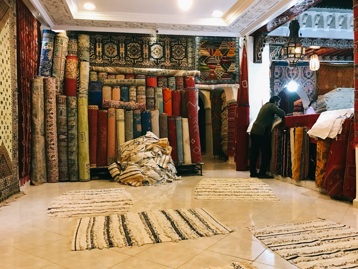Traditional Moroccan Rug In Marrakech